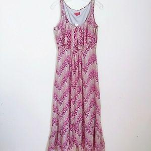 NWT ELLE Low Hi Maxi Dress Ruffled Neck